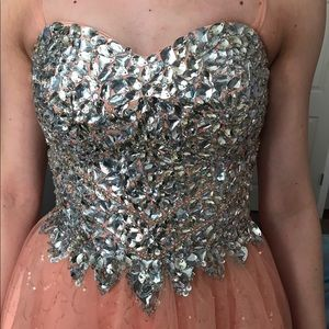 Dresses & Skirts - sparkle and peach short prom dress
